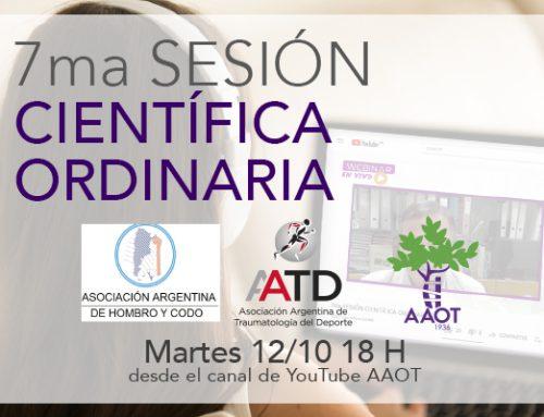 7ma Sesión cientítifica martes 12/10 en conjunto con AAHC y AATD